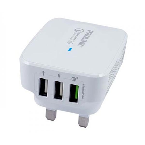 CHARGER PROLINK 3-PORT 30W TRAVEL WALL CHARGER WITH INTELLISENSE  PTC32501-WHT-EU