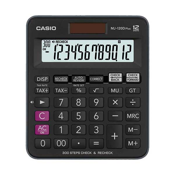 Casio MJ-120D Plus-BK Check & Recheck Mini Desk Type Desktop Calculator