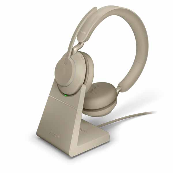 Jabra Evolve2 85 Beige MS Stereo Headset with Charging Stand